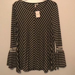 Bell-sleeved and Stripped Cato Women's Top